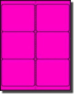 "600 Label Outfitters 4"" x 3.33"" Neon Fluorescent Pink Permanent Adhesive Shipping Labels - 100 - Printable Sunglasses"
