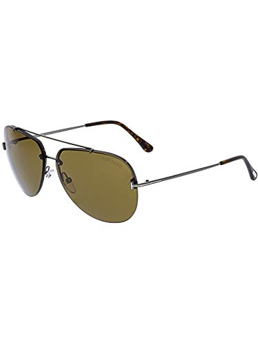 Tom Ford Brad-02 FT0584 08E Men Gunmetal Brow Bar Rimless Aviator Sunglasses