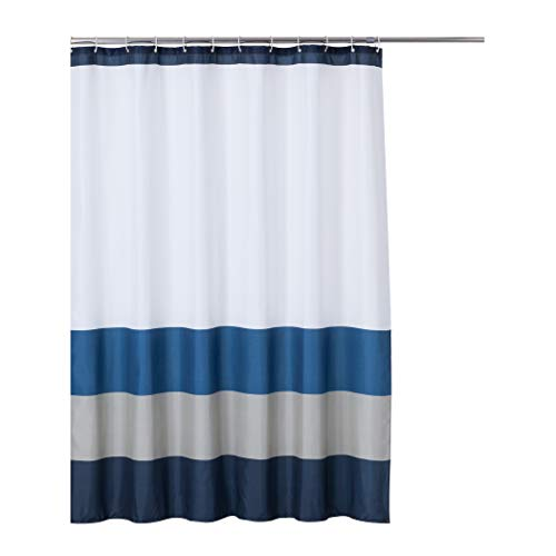 Rama Rose Shower Curtain Stripe with Hooks for Bathroom, Treated to Resist Deterioration by Mildew – 70X72 inches, Navy/Blue/Grey/White Color