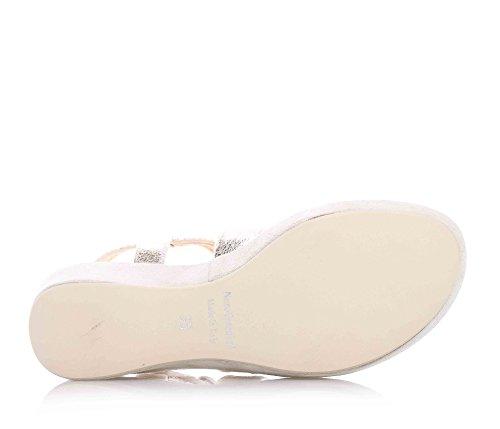 NERO GIARDINI - Sandale dorée en cuir et suède, avec boucle, logo sur la bande antérieure, semelle intérieure en cuir, fille, filles, femme, femmes