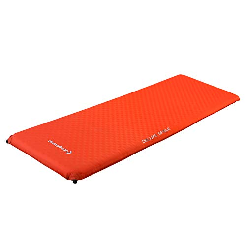 KingCamp Camping Sleeping Pad Foam Mat Mattress - Deluxe Single Self Inflating 3 inches Thick Pad with Carry Bag, Suitable for Traveling Hiking Family Camping Outdoor Activities