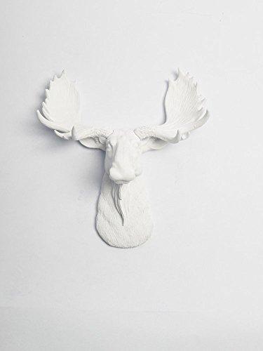 White Moose Head Wall Mount - The Mini Edmonton   Miniature White Resin Moose Head   White Moose Head Wall Decor   Moose Wall Mount Sculpture   Faux Animal Head Wall Mounts By White Faux Taxidermy