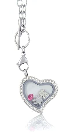 Stainless Steel Floating Locket Necklace with 6 Charms and Matching Chain (Silver Toggle Heart) by (Heart Toggle Chain Necklace)