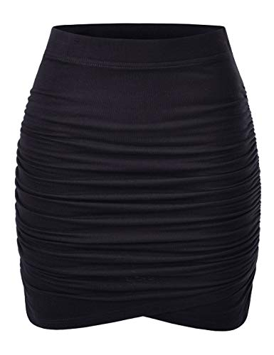 NEARKIN (NKNKWSK66 Women Fitted Stretch Shirring Draped Wrap Tulip Mini Skirt Black US S(Tag Size M)