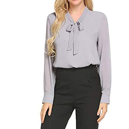 TANLANG☀Women Blouses Elegant T-Shirt Top Lapel Chiffon Long Sleeve Bow Shirt Neck Office Work Casual Button Down Shirts Gray