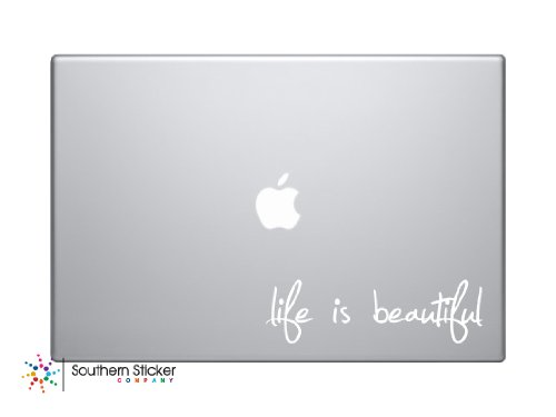 Life Is Beautiful Laptop Apple Silhouette Doctor Macbook Symbol Keypad Iphone Apple Ipad Decal Skin Sticker Laptop (white) (Black And White Winnie The Pooh Wall Stickers)