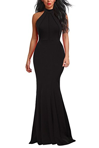 Berydress Women's Elegant Chic Halter Neck Sleeveless Solid Stretchy Mermaid Long Evening Dress (L, 6075-Black) -