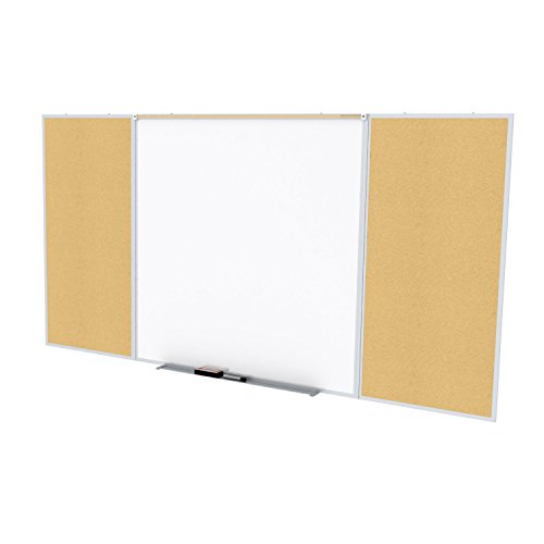 Ghent Style D 4 x 10 Feet Combination Board, Porcelain Magnetic Whiteboard and Natural Cork Bulletin Board , Made in the USA by Ghent