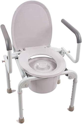 GBX Beweglicher Faltbare Durablefolding Potty Wc Stuhl, Höhenverstellbarer Duschstuhl Ältere Hygiene Potty Stuhl Handicapped Multifunktionale Kopfendecommode Sitzstuhl Für Großeltern Schwangere Frau