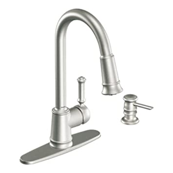 moen ca87012srs pullout spray high arc kitchen faucet with reflex technology from the lindley collection - Moen Kitchen Sink Faucet