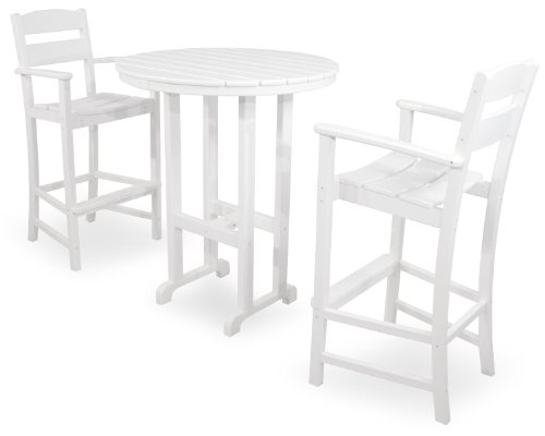 Ivy Terrace IVS111-1-WH Classics 3-Piece Bar Set, White