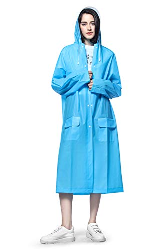 - Rain Ponchos for Adults Long Rain Jacket Rain Coat for women man Rain Wear Cape Reusable unisex with Hood Strip 0.25mm More Thicker Durability Worth Every Your Penny (Blue 2, xl)