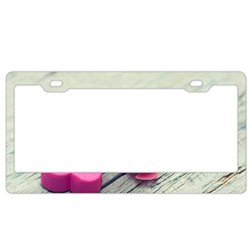 - fffvv Steel Heart Flower Tenderness Pink License Plate Frame for Home/Car Decor