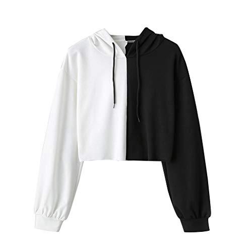Dainzuy Women's Long Sleeve Smile Print Sweatshirt Crop Top Blouse Shirts Hoodies Black