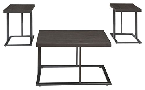 - Ashley Furniture Signature Design - Airdon Contemporary 3-Piece Table Set - Includes Coffee Table & 2 End Tables - Bronze Finish