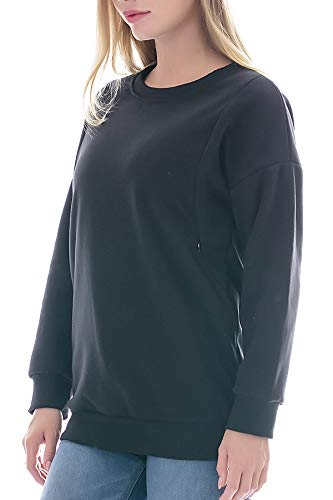 Smallshow Fleece Nursing Sweatshirt Long Sleeve Breastfeeding Pullover Tops