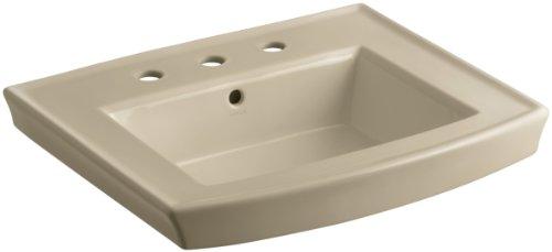 KOHLER K-2358-8-33 Archer Pedestal Bathroom Sink Basin with 8