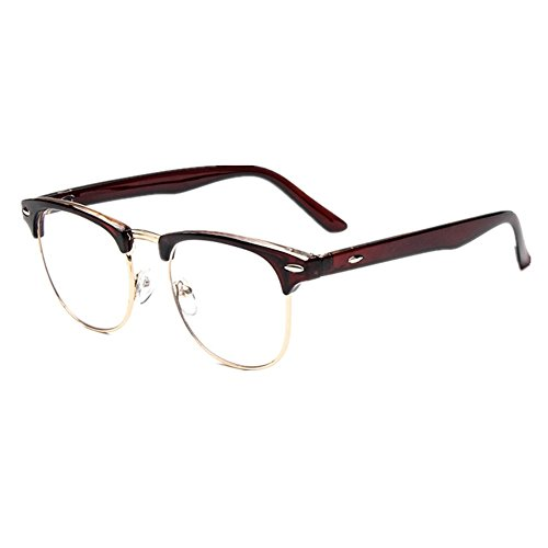 shiratori new vintage classic half frame semi rimless wayfarer clear lens glasses brown
