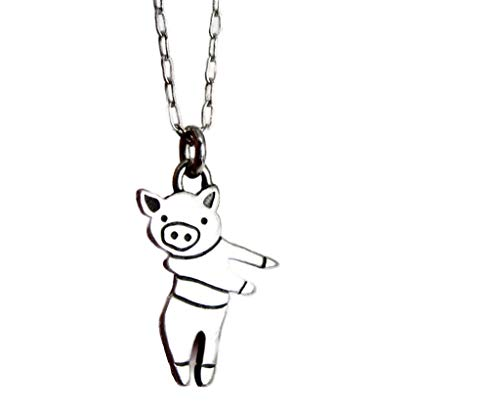 Pig Charm 925 Sterling Silver Pig Necklace for Women and Girls on 18