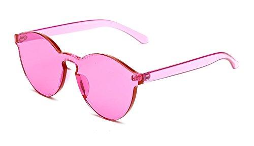GAMT Rimless Colorful Transparent Sunglasses Futuristic One Piece Design for Women Rose - Tinted Sunglasses Rose Round