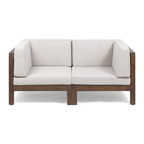 Great Deal Furniture Dawson Outdoor Modular Acacia Wood Loveseat with Cushions, Dark Brown and Beige