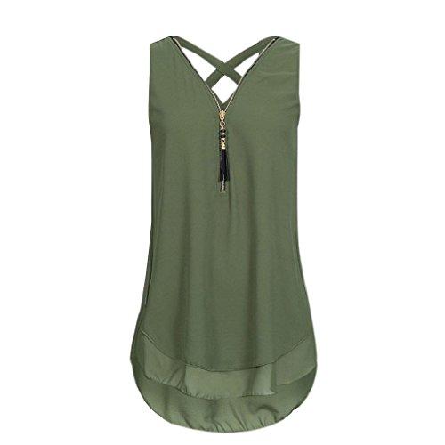 Shirt Sommer Hemdbluse Chiffon Unterhemd T zurück Unregelmäßigkeit V Damen Frauen Weste Reißverschluss Bluse Tank aushöhlen Rovinci Vorne Elegant Tops Grün Ausschnitt Ärmellos AxwqO4BZ
