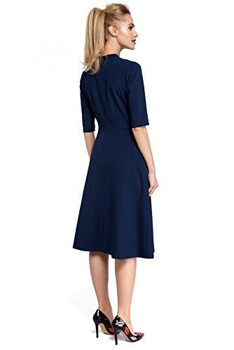 Schleife Marineblau V Kleid Clea glockige Ausschnitt Unterteil mit qTBYHR