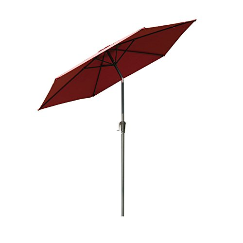 Outsunny Outdoor Aluminum Patio Market Umbrella with Tilt, 9-Feet, Wine Red