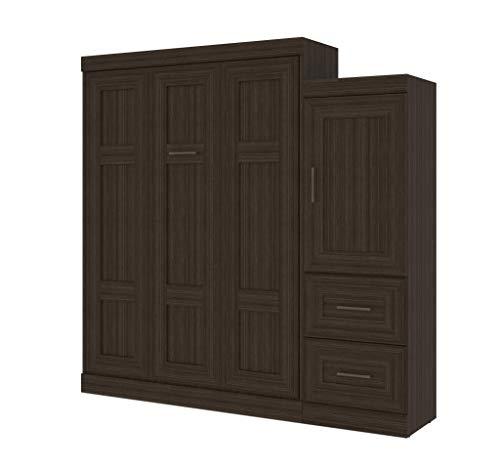 Bestar Edge Queen Wall Bed with Drawer Storage Unit in Dark Chocolate