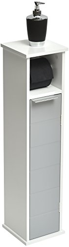 - Evideco 9912208 2 in 1 Toilet Roll Holder and Storage Unit Cabinet-Modern D- White and Grey,