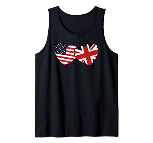 (British American Flags Hearts Cool Union Jack Cool Gift Tank Top)