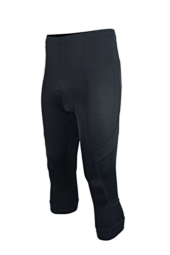 Knicker Capris - Dinamik Evo Pro Men's Bicycle Knickers- Extra Padded Cycling 3/4 Capri Compression Tights (Black, Medium)