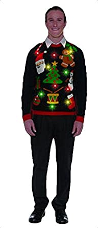 forum novelties adult everything light up ugly christmas sweater - Lighted Christmas Sweaters