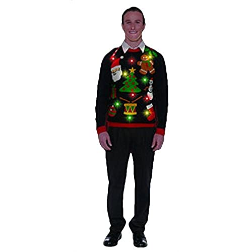 forum novelties mens plus size everything christmas lite up sweater black x large