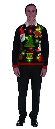 Forum Novelties Men's Plus Size Everything Christmas Lite Up Sweater, Black, X-Large