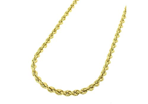 (14K Gold 2.5MM 3MM 4MM Diamond Cut Rope Chain Necklace for Men and Women- Braided Twist Chain Necklace 14K Necklace, 14k Rope Chain, 14 Karat Gold Necklace - 16-30)