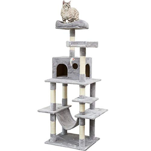 YXHUI Multi-Layer cat Tree with sisal-Covered Scraper Slope, itching Column, Plush Squid and Apartment, Activity Center Cat Tower Furniture - Good Mood, Good Life (Color : Gray)