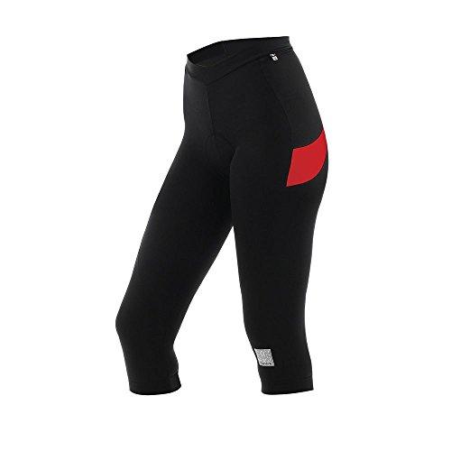 Santini 365 Rea Gel - Culote de ciclismo para mujer, color negro / rojo, talla 3XL negro / rojo