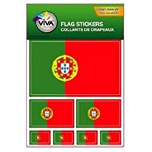 PORTUGAL COUNTRY FLAG COLLECTION OF 7 DIFFERENT SIZE DECAL STICKERS .. NEW IN PACKAGE