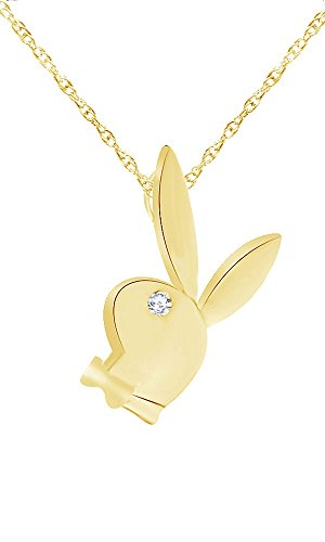 (Wishrocks 14K Yellow Gold Over Sterling Silver White CZ Playboy Easter Bunny Pendant Necklace )