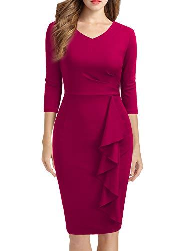 WOOSUNZE Women's Casual 2/3 Sleeve V Neck Ruffles Work Business Pencil Dress Magenta