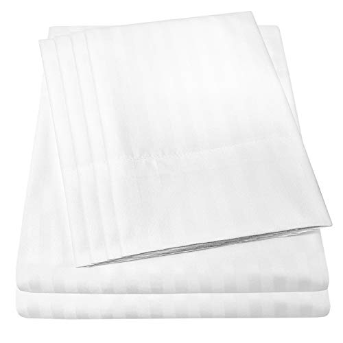 Cal King Size Bed Sheets – 6 Piece 1500 Thread Count Fine Brushed Microfiber Deep Pocket California King Sheet Set Bedding – 2 Extra Pillow Cases, Great Value, California King, Dobby White