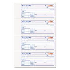 Money and Rent Receipt Books, 2-3/4 x 7 1/8, Two-Part Carbonless, 200 Sets/Book by Reg