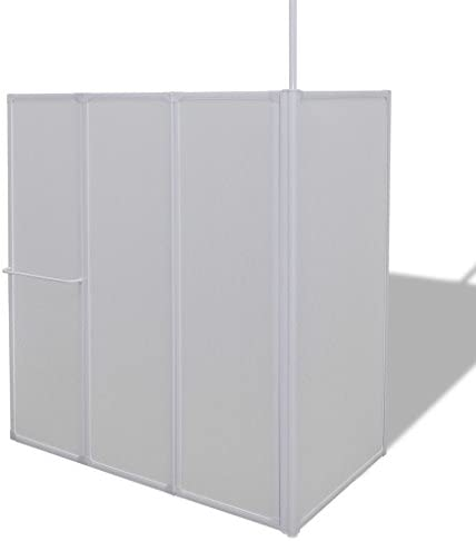 Mampara de Ducha de Pared con Forma de L, 70 x 120 x 140 cm, 4 Paneles Plegables: Amazon.es: Electrónica