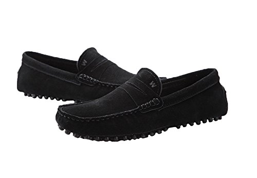 Santimon - Mens Casual Comfort Nubuck Leather Running Outdoor Boat Shoes Moccasin loafers Black aD1vPC7ko