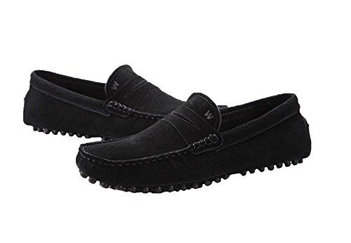 Santimon - Confort Décontracté Pour Hommes En Cuir Nubuck Running Chaussures De Bateau En Plein Air Mocassins Mocassins Noir