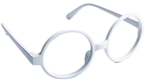 FancyG Retro Geek Nerd Style Round Shape Glass Frame NO LENSES - - White Glasses Nerd