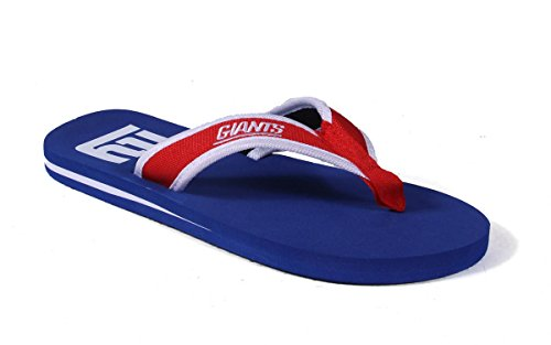 Forever Collectibles Officially Licensed NFL Contour Flip Flops - Happy Feet and Comfy Feet New York Giants Contours