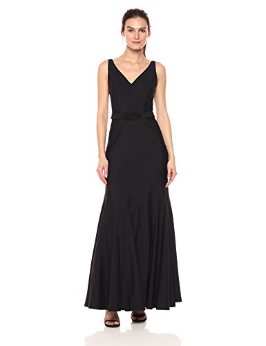 Ignite Women's Sleeveless Seamed V-Neck Beaded Belt Trumpet Skirt Gown, Black, (Beaded V-neck Skirt)