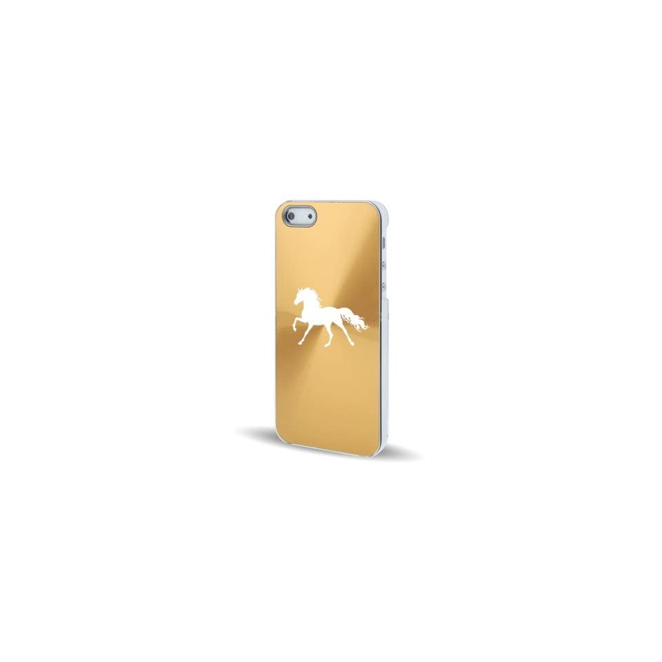 Apple iPhone 5 5S Gold 5C582 Aluminum Plated Hard Back Case Cover Horse